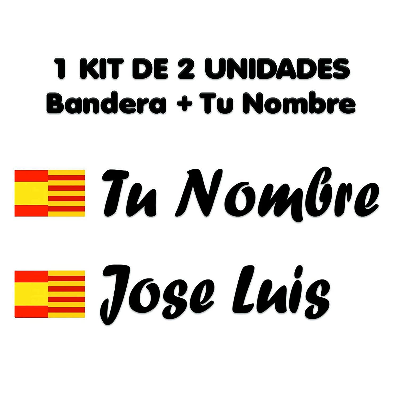 Pegatina Vinilo Bandera España Cataluña + tu Nombre - Bici, Casco, Pala De Padel, Tablas Skate, Coche, Moto, etc. Kit de Dos Vinilos (Negro): Amazon.es: ...