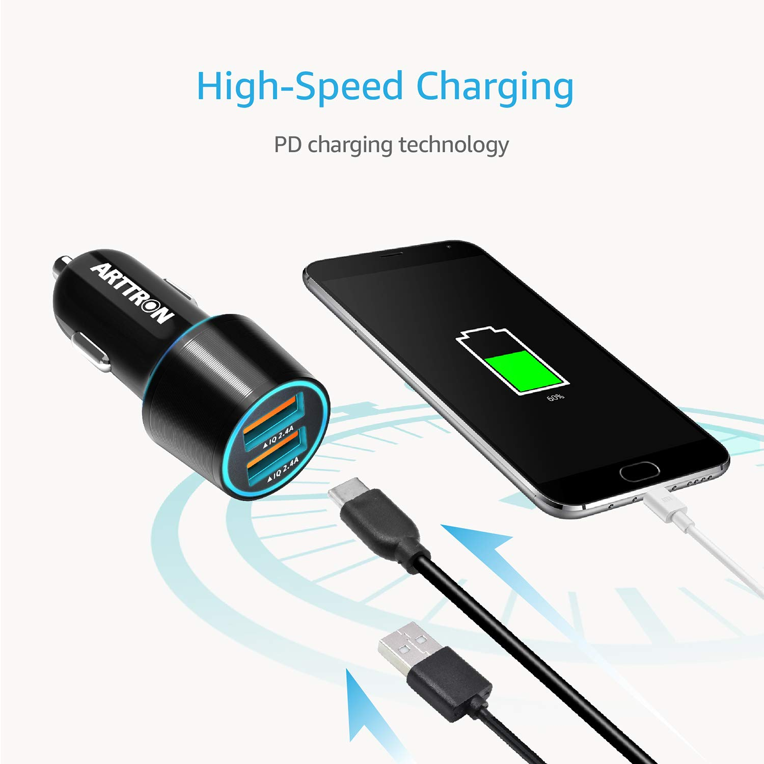 Cell Phone Car Chargers. Flush Mount Car Charge Adapter Dual USB Port for Apple Android Device 24w USB car Charger
