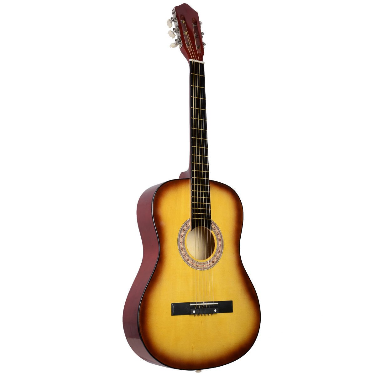 Super buy Acoustic Guitar W/Guitar Case Strap Tuner Pick For New Beginners Yellow Sup-9750