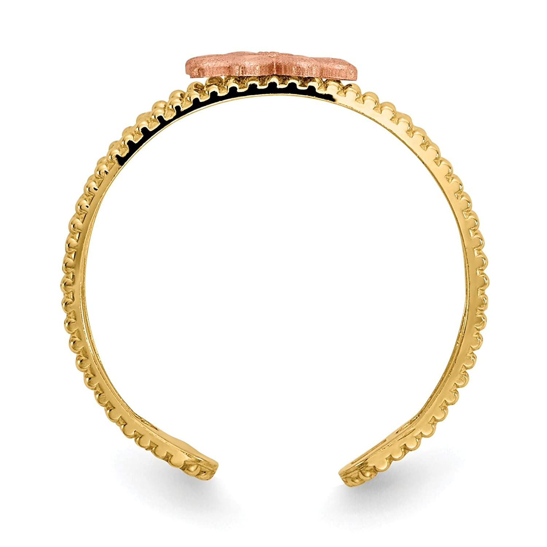 Size 11 Bonyak Jewelry 14k Two-Tone Flower Toe Ring in 14k Yellow Gold