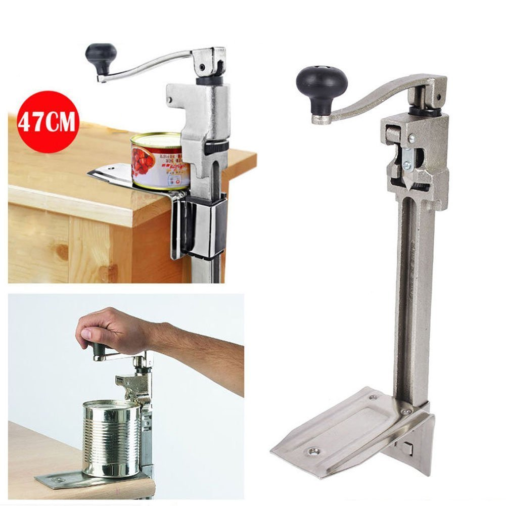 Manual Can Opener, Large Heavy Duty Catering Commercial Bench Can Opener Tin Opener Stainless Steel 470 X 210mm for Cans up to 340 mm High Zerone