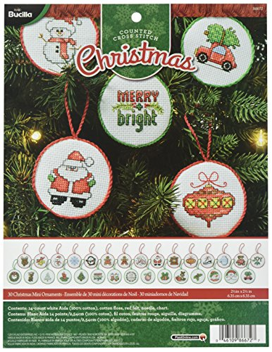 Cross Stitch Christmas Ornament Kits (Bucilla Counted Cross Stitch Mini Ornament Kit, 86672 Christmas (Set of 30))