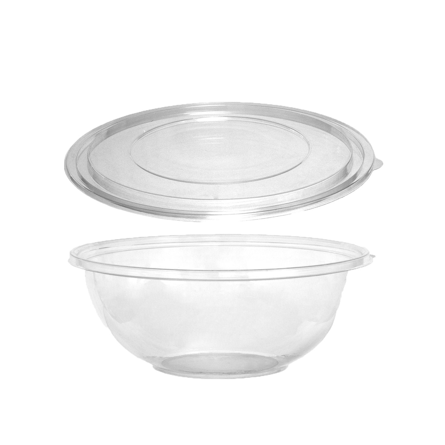 Party Essentials N508017 Soft Plastic 80-Ounce Serving/Catering Bowls, Black with Clear Lids, Set of 2