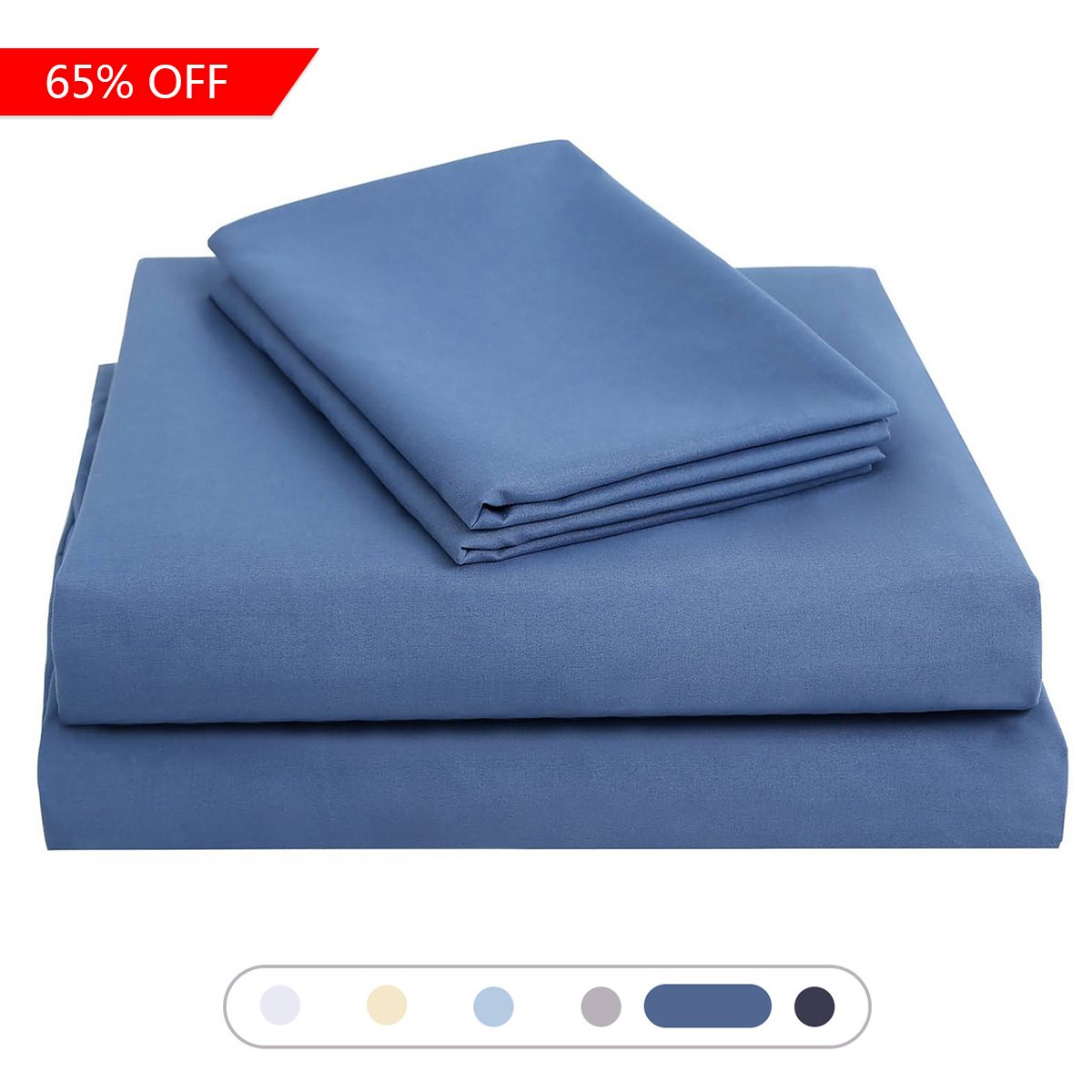 ASHENGVER Bed Sheet Set - 110 GSM Polyester Microfiber Wrinkle, Fade, Stain Resistant - Navy Blue Twin Sheet Sets-(1 Flat Sheet, 1 Fitted Sheet With Deep Pocket, 1 Pillowcase)