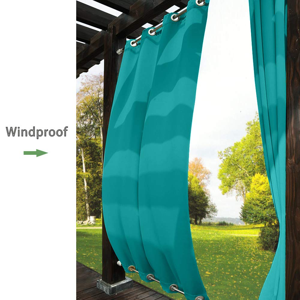 TWOPAGES Outdoor Curtain Rustproof Grommet Waterproof Drape(Both Top and Bottom) Turquoise 52'' W x 96'' L for Front Porch, Pergola, Cabana, Covered Patio, Gazebo, Dock, and Beach Home (1 Panel).