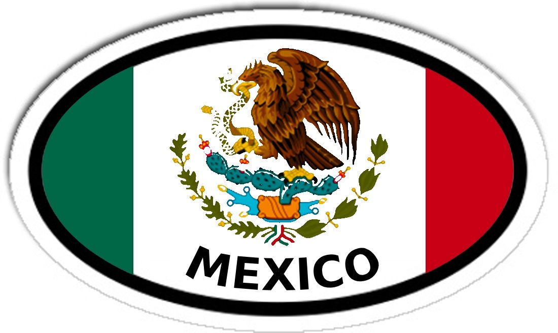 Mexico and Mexican Flag Car Bumper Sticker Decal Oval LandsAndPeople.com