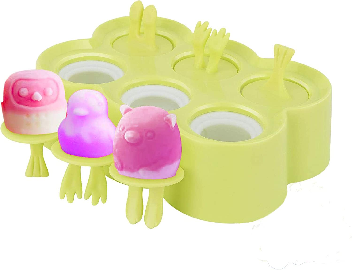 Mini Popsicle Mold 6 Cavities, Reusable Cartoon DIY Ice Pop Molds Homemade Silicone Popsicle Maker Kid Easy Release Ice Cream Molds for Lollipop, Animal Style Baby Food and Ice Cream Tray, Green