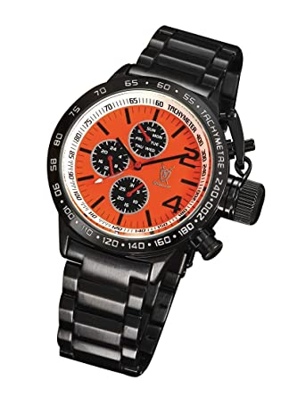 mens black designer watch metal bracelet orange dial large face mens black designer watch metal bracelet orange dial large face multifunction day date konigswerk aq201739g