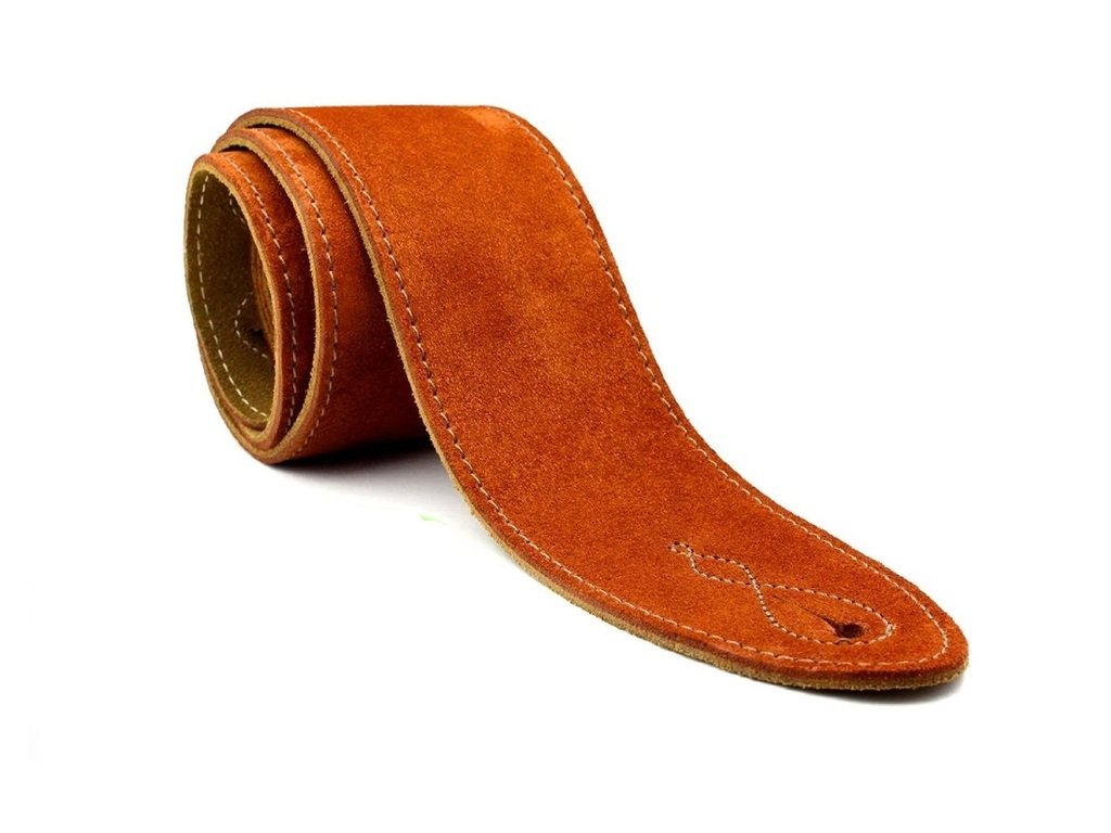 LeatherGraft Copper Rust Brown Genuine Suede Style 2.5 Inch Wide Guitar Strap - Suitable for All Electric, Acoustic, Classical & Bass Guitars