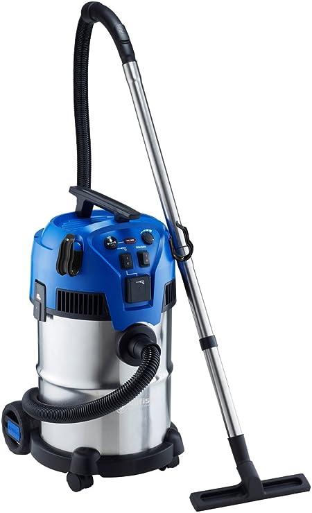 Nilfisk Aspirador de Bricolaje Multi II 30T INOX, con Toma de Corriente y función de Limpieza Semi automática, 292 W, 30 litros, Plástico, Azul/Gris: Amazon.es: Hogar