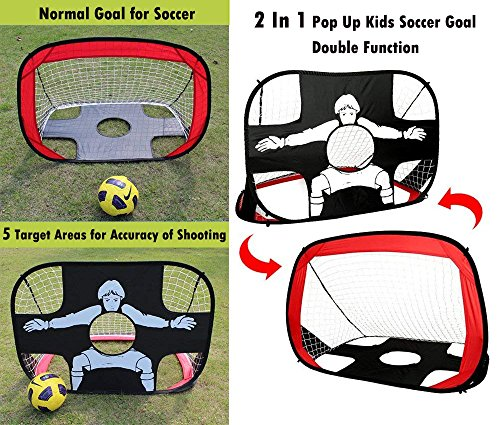Eggsnow 2 in 1 Pop Up Kids Soccer Goal Portable Kids Soccer Net Kids Soccer Target with Carry Bag,Perfect for Indoor & Outdoor Sports and Practice by Eggsnow (Image #1)
