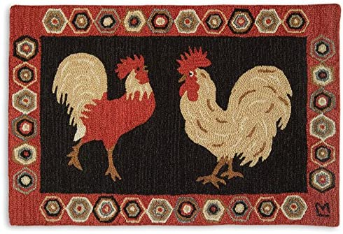 Chandler 4 Corners Artist-Designed Two Roosters Hand-Hooked Wool Accent Rug 2 x 3