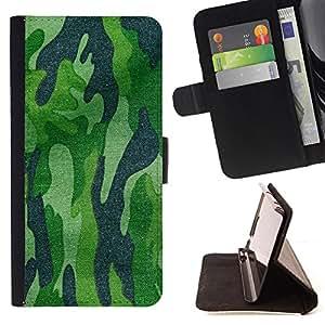 - Army Camouflage Green Hunting Hunter - Estilo PU billetera de cuero del soporte del tir???¡¯????n [solapa de cierre] Cubierta- For HTC DESIRE 816 £¨ Devil Case £©