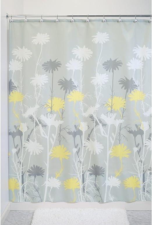 idesign daizy fabric shower curtain polyester shower screen with garden daisy pattern design grey yellow