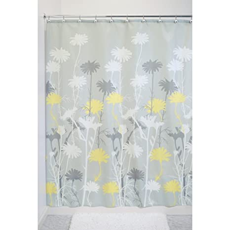 InterDesign Daizy Shower Curtain Gray And Yellow 72 Inch By