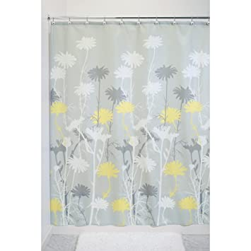 Amazon Com Interdesign Daizy Shower Curtain Gray And Yellow