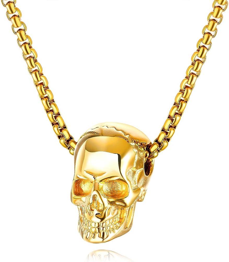 "Fusamk Hip Hop Rapper Stainless Steel Skull Pendant 22"" Chain Necklace"