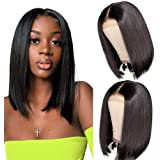 12 Inch Short Bob Wigs Human Hair Lace Closure Wigs Brazilian Virgin Human Hair Straight Bob lace Front Wigs For Black…