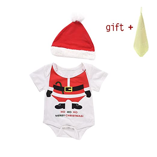 3pcs newborn boy girl christmas pajamas hat outfits set thanksgiving gift christmas gift birthday gift