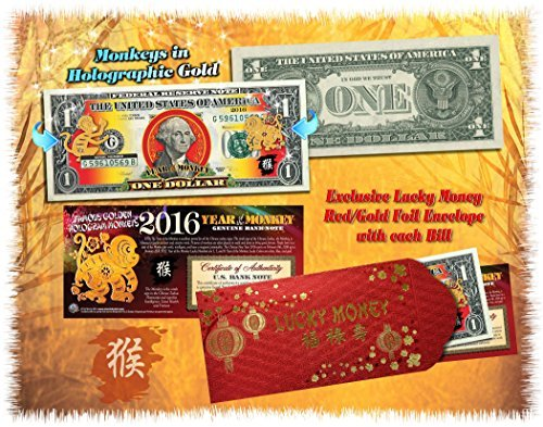 2016 Chinese New Year Lucky Money YEAR OF THE MONKEY Gold Hologram U.S. $1...