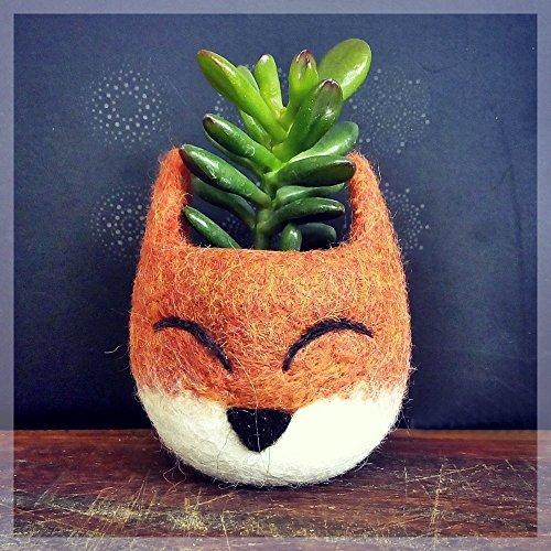 Succulent planter pot - Fox head planter - Felt succulent vase (Yarn Flower Vases)