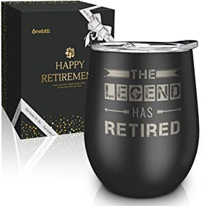 Best Unique Tumbler for Retirement -The Legend Has Retired-12oz Wine Tumbler with Spill-Proof Lid, Stainless Steel Double Wall Vacuum Insulated Wine Cup, For Dad, Police, Teacher, Boss, Retired Men