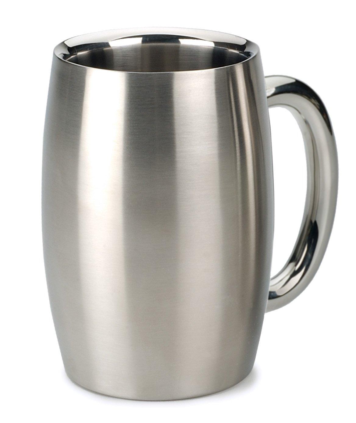 RSVP International Endurance Stainless Steel Double Walled Beer Mug, 15 Ounce