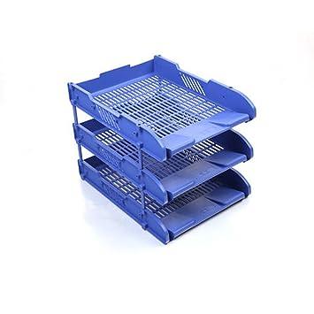3 cartas y documentos, tamaño A4 archivador de escritorio bandejas + elevadores - Apilamiento Paper- oficina papelería: Amazon.es: Oficina y papelería