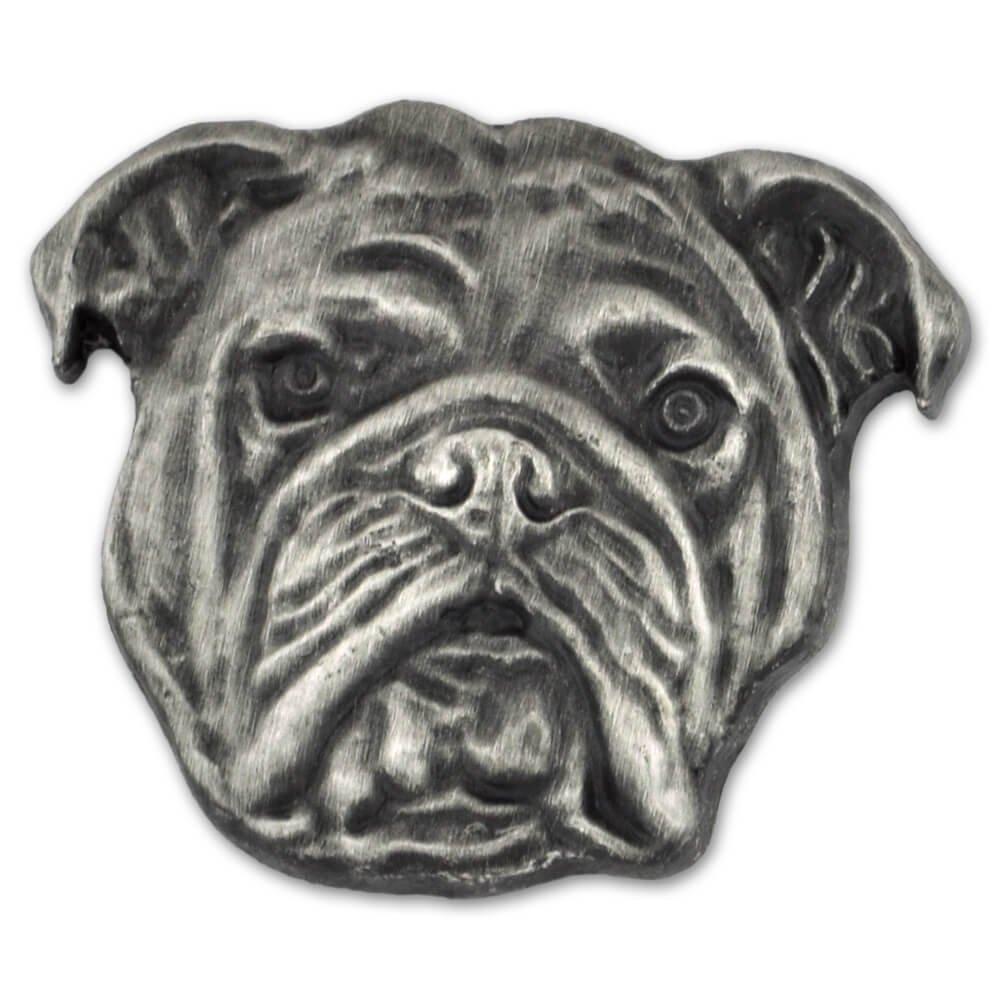 PinMart's Silver 3D English Bulldog Dog Breed Dog Lover Lapel Pin