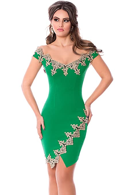 New Green & Gold Lace Bodycon Mini Dress Club Wear Evening Dresses Party Wear Size M