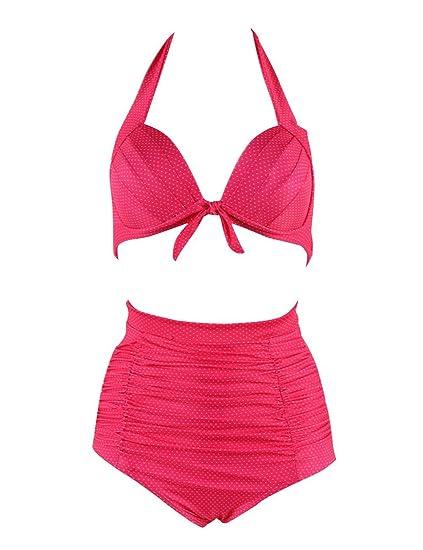 c16a3bb947 Amazon.com: Retro 50s Adjustable Strap Swimsuits Solid Vintage Swimwear  High Waist Bikini Set(FBA): Clothing