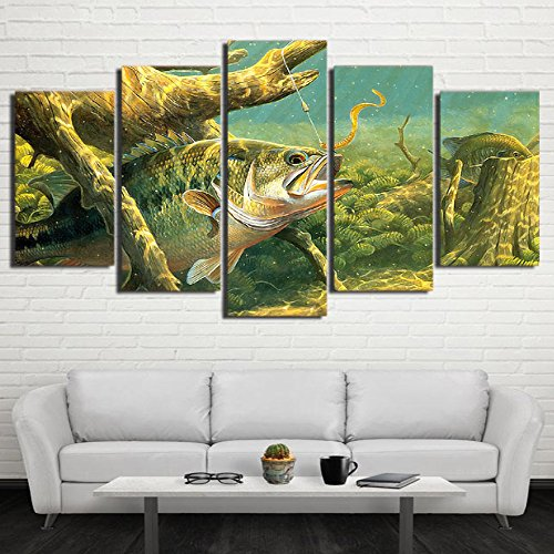 [LARGE] Premium Quality Canvas Printed Wall Art Poster 5 Pieces / 5 Pannel Wall Decor Fish Painting, Home Decor Pictures - With Wooden Frame