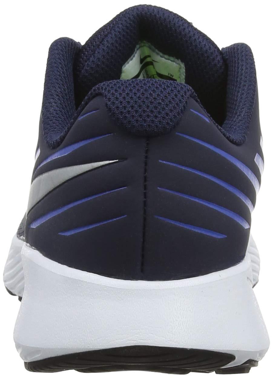 Nike Boy's Star Runner (GS) Running Shoe Obsidian/Metallic Silver/Signal Blue Size 3.5 M US by Nike (Image #2)
