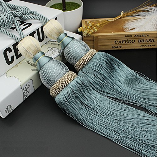 Interbusiness Curtain Holdback Braided Buckle Fastener Accessories Home Decorative Window Drapery Ball Tassels Tieback, Set of 2 , Light Blue