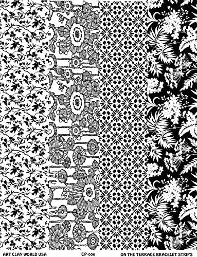 On The Terrace Full Length Low Relief Texture Sheet and Spring Garden. Lined Flowers 10in x 2in Each of Birds in Trees Cherry Blossoms
