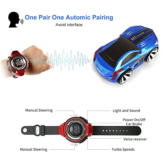 Amazon.com: ZJTL Rechargeable Voice Control Toy Car Wrist Watch Command Creative Voice-Activated Remote Control RC Car-Blue: Toys & Games