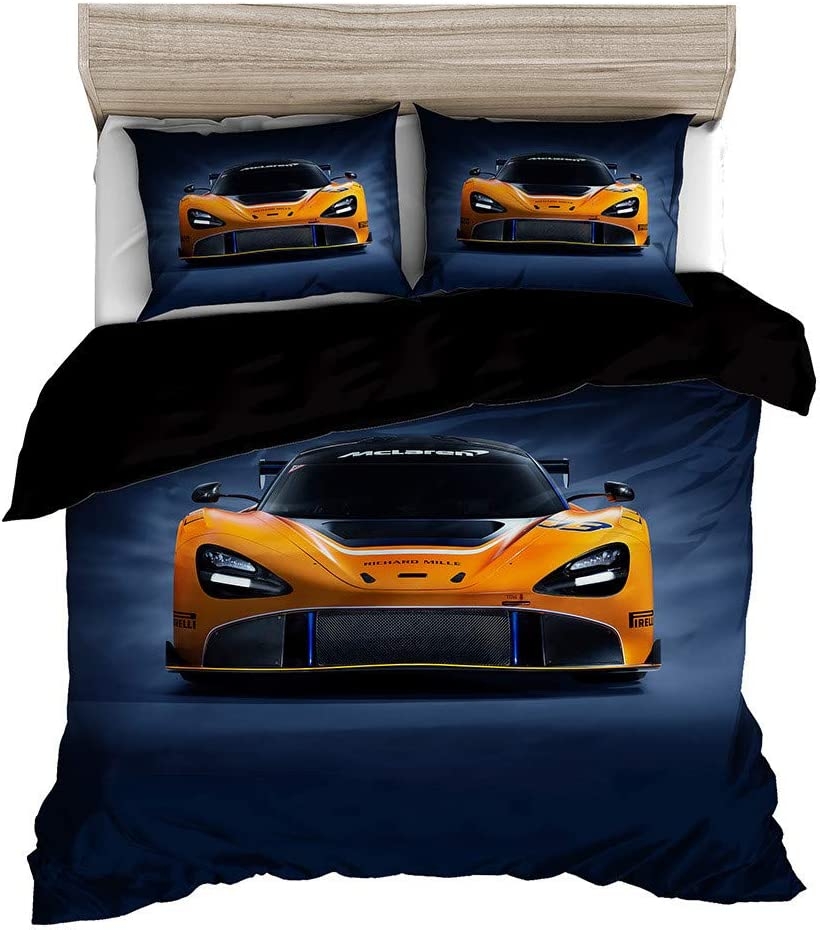 Orange Sports Car Duvet Cover Set