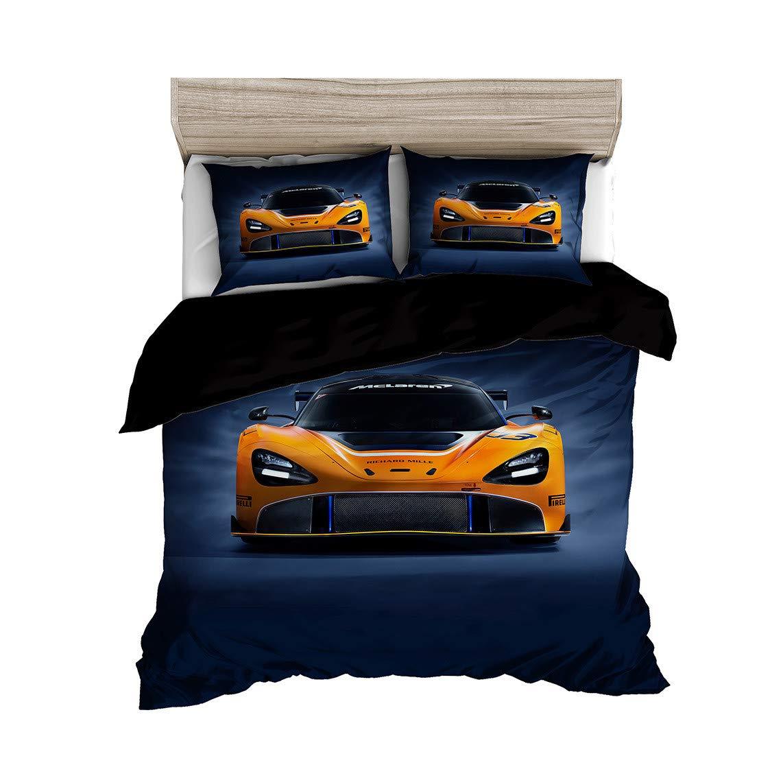 Abojoy Orange Sports Car Duvet Cover Set, 3D Printed Cool Speed Racing Car Automobile Style Kids Teen Boys Bedding Set, 1 Quilt Cover + 2 Pillowcases(No Comforter Inside), Twin, Orange Blue