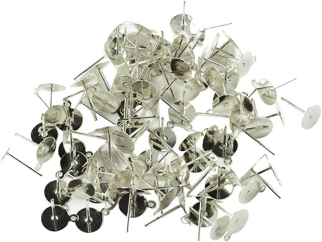 Sharplace 100 Pi/èces Plat Coussin Oreille Stud DIY Boucle doreille Appr/êt de Bijoux Bricolage Ornement