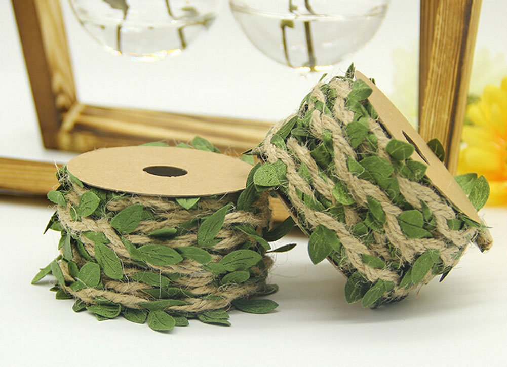 About 394 Natural Jute Twine Creative Burlap Leaf Ribbon 5MM with Artificial Green Leaves Perfect Braided Decorated Vine for DIY Craft Party Wedding Home Decoration Sumddy