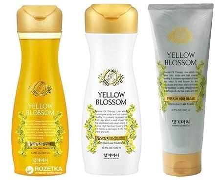 DAENG GI MEO RI Yellow Blossom Shampoo, Treatment And Intensive Mask Set 3 Pieces Anti Hair Loss, Hair Shine, Scalp Nourishing and Moisturizing Set of 3
