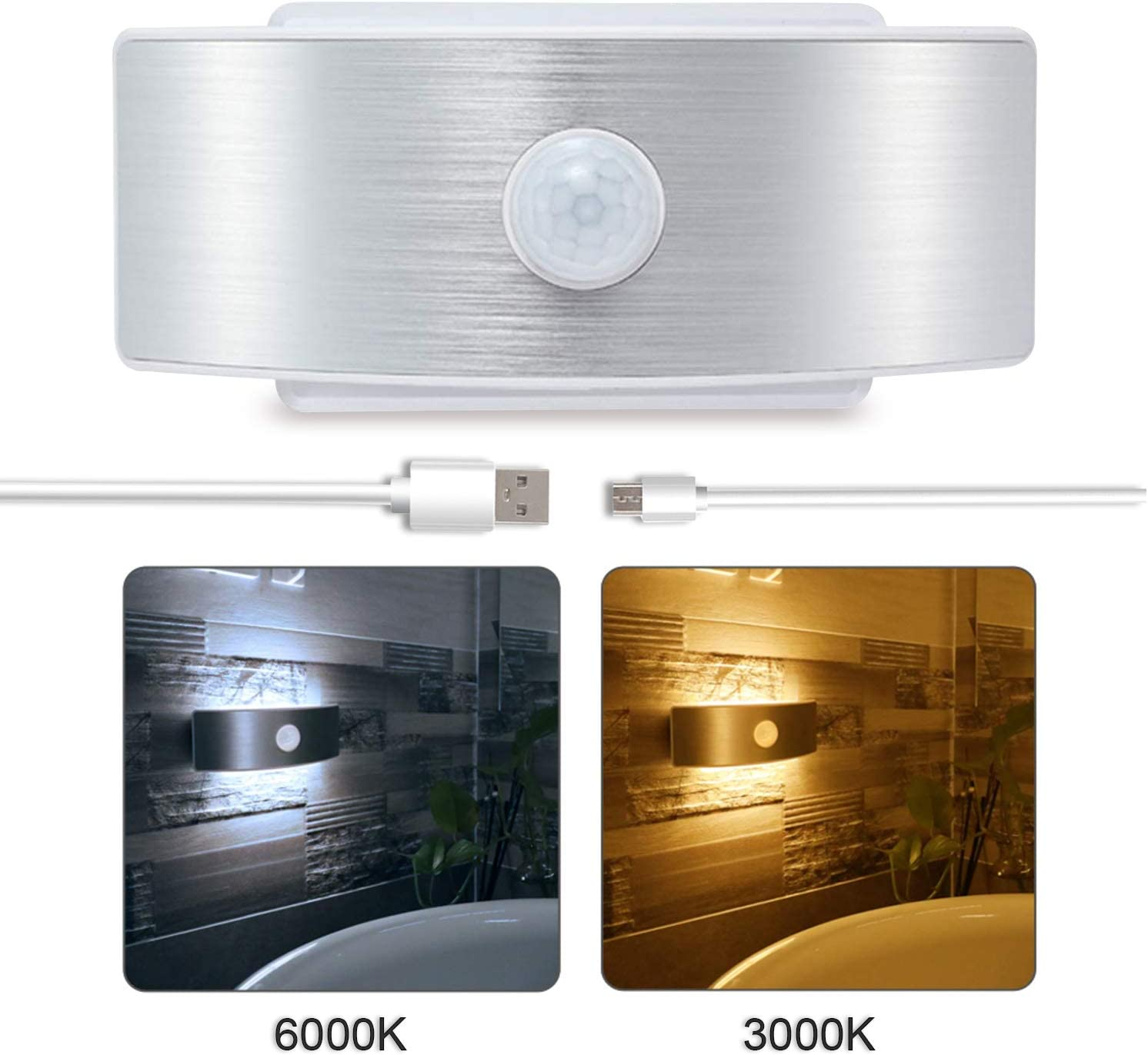 Motion Sensor Led Wall Lights Sconces Lamps Wireless Closet Light