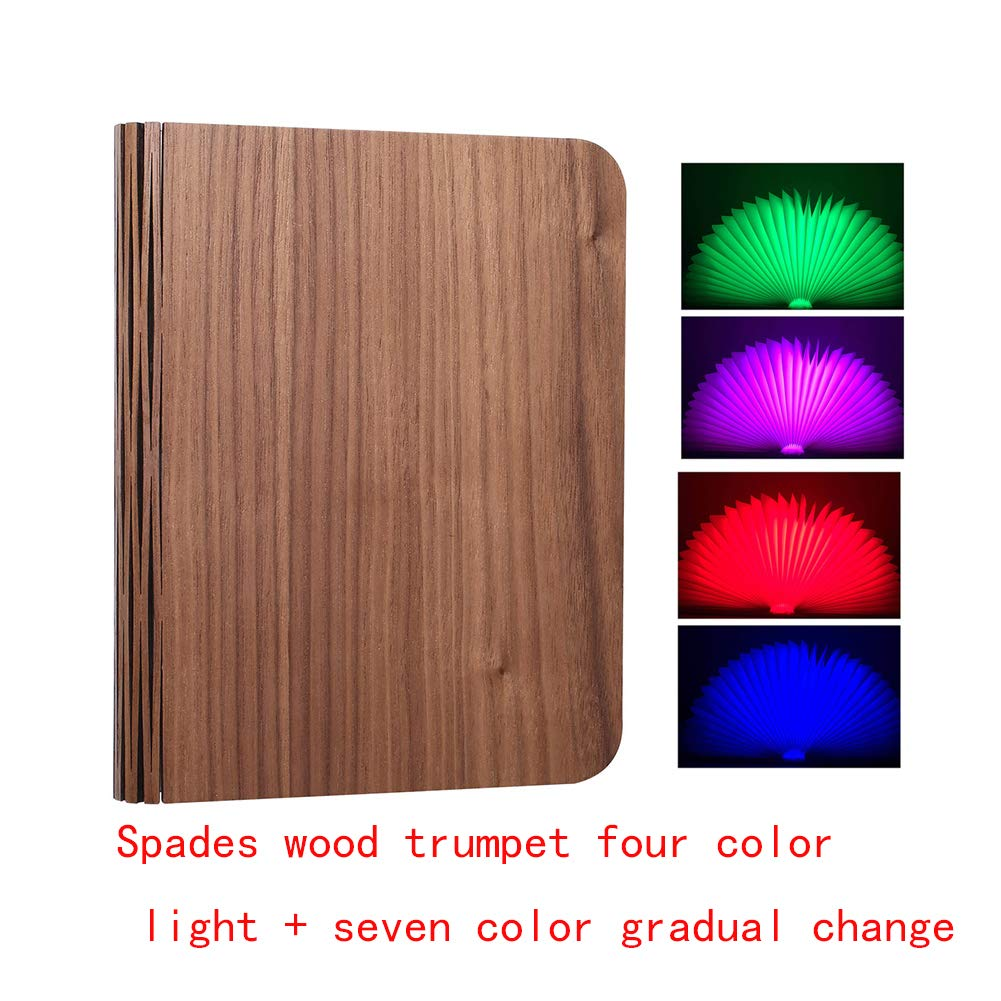 Magic LED Table Lamp Book Shaped Light Warm Nightlight,Wooden Folding Book Light,USB Rechargeable Booklight,Gift Decorative for Book Lover Family Friends(L,Black Cover (Four-color light))