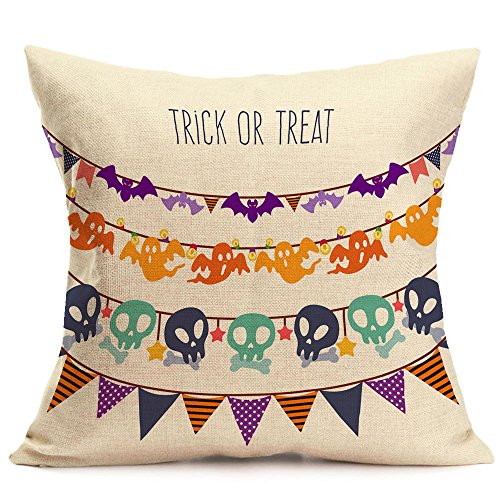 UONQD Happy Halloween Pillow Cases Linen Sofa Cushion Cover Home Decor (45cm45cm/18