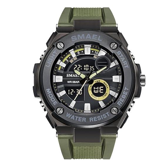 Hombre Multifunción Digital LED Retroiluminación Negro Dial Relojes para Hombres Reloj Digital a Prueba de Agua con Banda de Silicona Verde: Amazon.es: ...