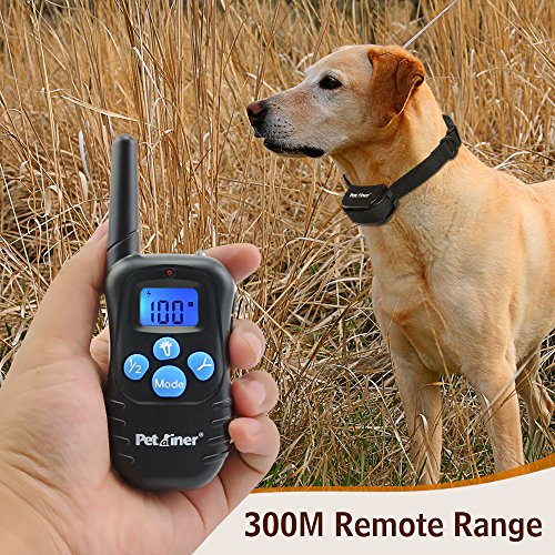 61ZQe2 gamL - Petrainer PET998DRB1 Dog Training Collar Rechargeable and Rainproof 330 yd Remote Dog Shock Collar with Beep, Vibra and Shock Electronic Collar