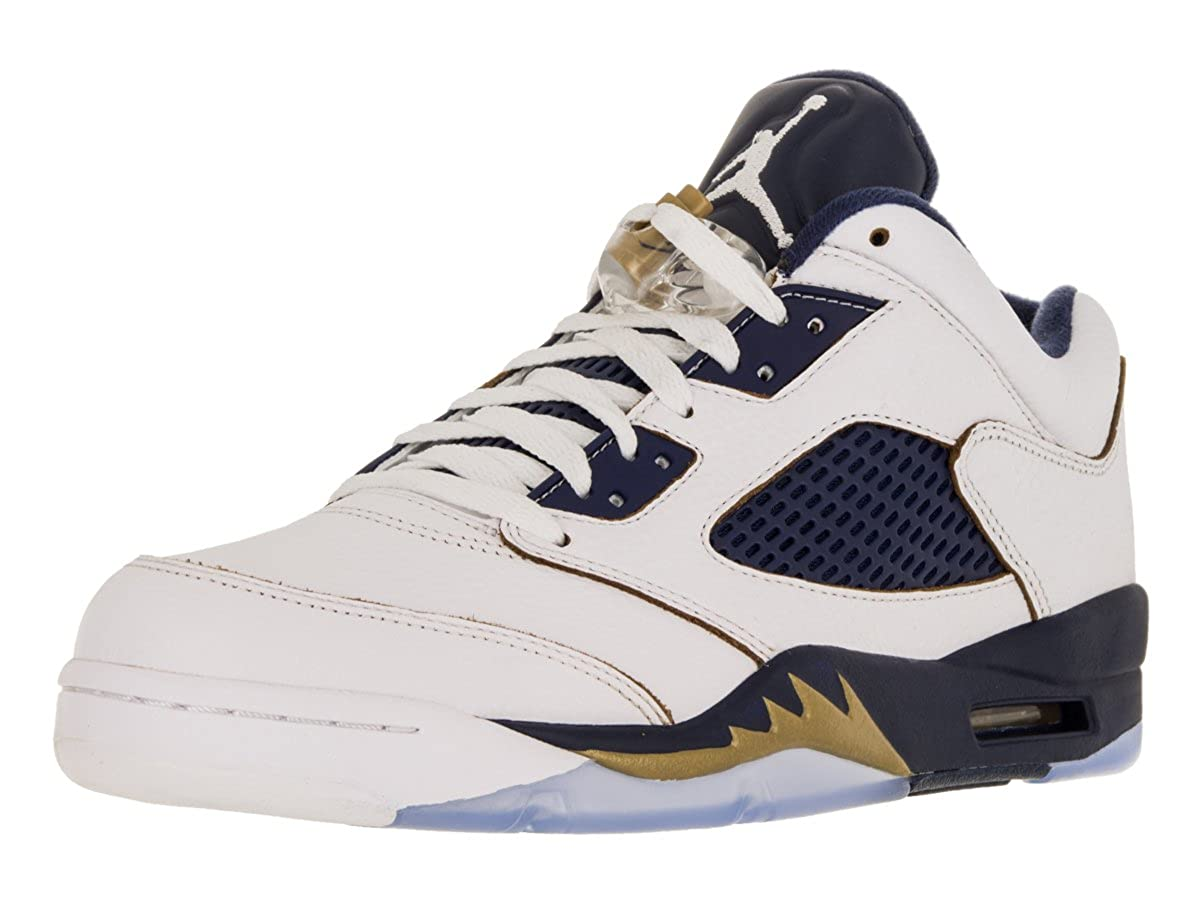 the latest ab87e be43b Nike Mens Air Jordan 5 Retro Low Dunk from Above White/Metallic  Gold-Midnight Navy Leather Size 12