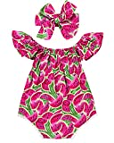 Baby Girls Pink Watermelon Print Ruffle Sleeve Boat Neck Romper With Headband (0-6M(Tag70), Pink)