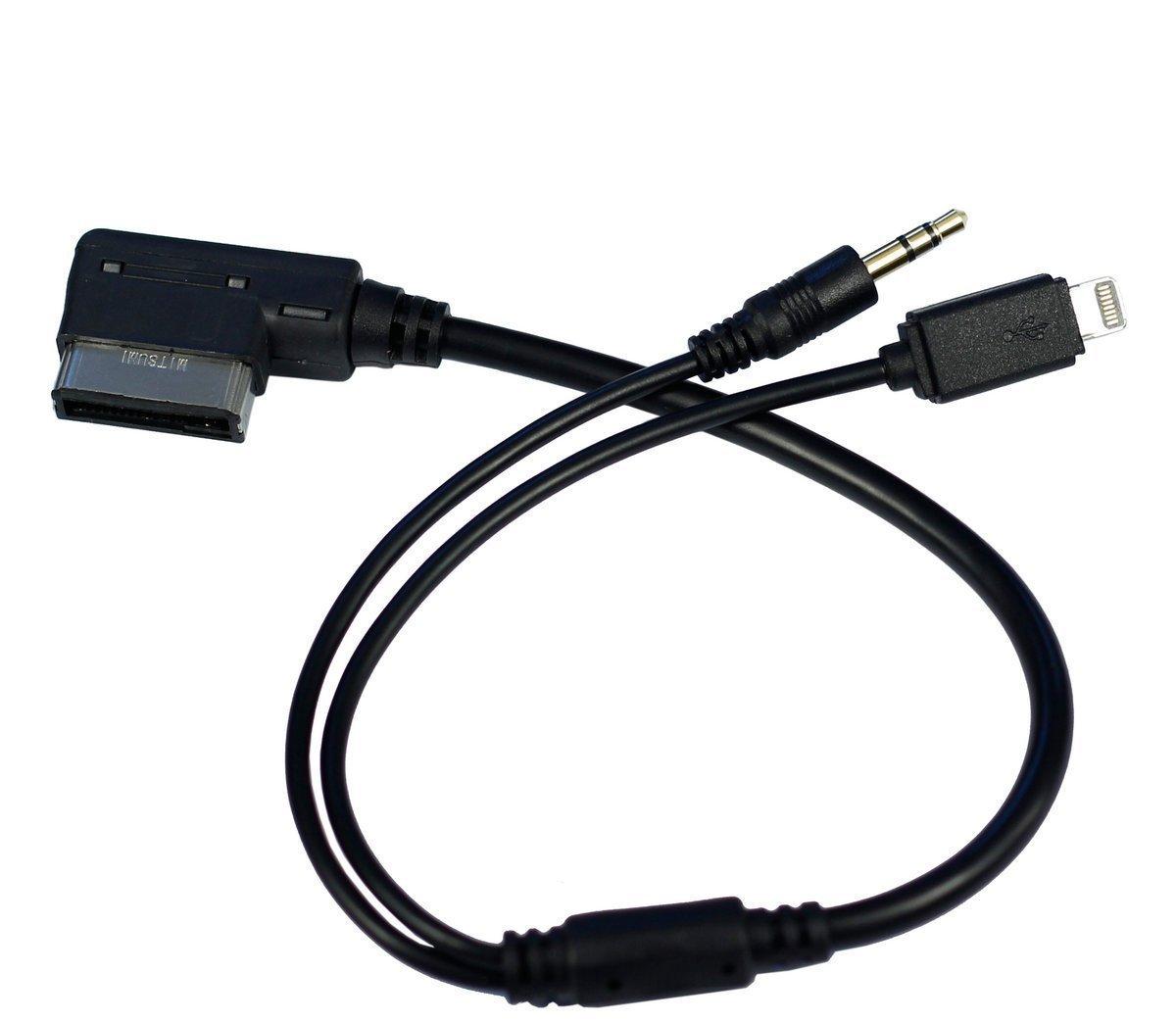 Cable Adaptador de Interfaz de m/úsica Compatible para iPX XS MAX XR X 8 7 Plus para Audi VW seleccionado AMI MDI Cable AUX