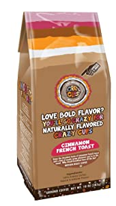 Crazy Cups Flavored Ground Coffee, Cinnamon French Toast, in 10 oz Bag, For Brewing Flavored Hot or Iced Coffee